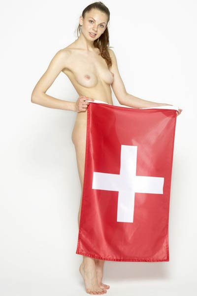 Astonishing Cindy proudly poses with a Switzerland flag covering her delectable body