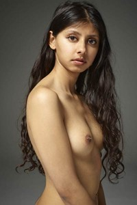 Babe with curly hair Anaya flashing with her naked body in many flexible poses
