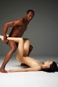 Black dude and his white girlfriend teasing in many different poses