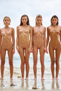 Four astonishing young babes present their naked bodies on the beach