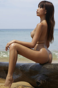 Seductive tanned babe with perfect body poses naked on the old wood by the sea