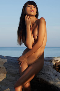 Well stacked Asian female showcasing her attributes at the beach
