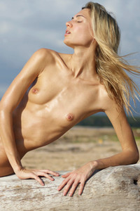 Tall blonde posing with her skinny naked body on the big log